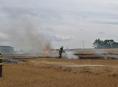 V Zábřehu hořelo strniště a 110 balíků slámy