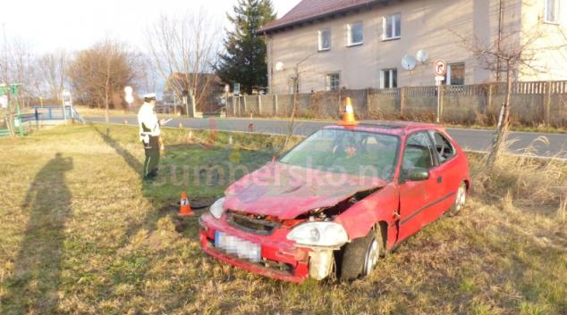 Řidič na Jesenicku se lekl srny a havaroval