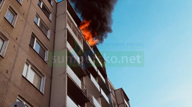 Požár bytu v Šumperku