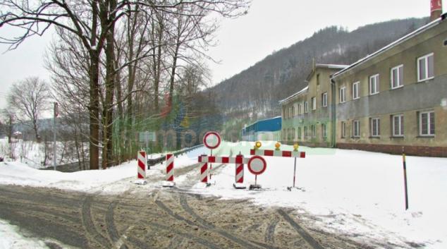Uzavřená silnice na Šumpersku