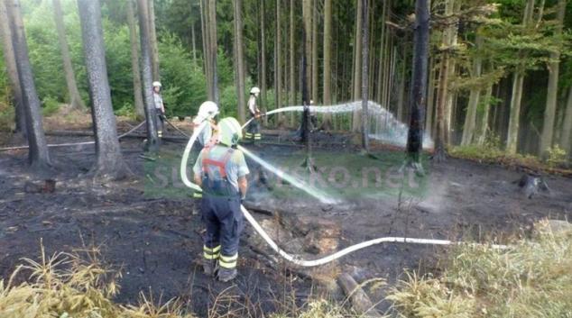 AKTUALIZOVÁNO! Pravděpodobně po úderu blesku začal hořet les za obcí Krchleby
