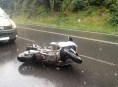 Motorkář havaroval poblíž Studené Loučky