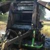 požár balíkovače na poli nedaleko obce Dolní Libina.