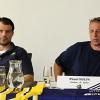 Tomáš Sedlák a Pavel Hulva, nový kapitán a trenér  na tiskové konferenci před zahájením sezony     foto: Martin Schwarz (dracisumperk.cz)