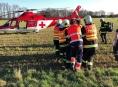 Zraněný motorkář byl letecky transportován do FN Olomouc