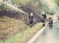 Po dopravní nehodě u Jakubovic začalo hořet vozidlo, motocykl i okolní les