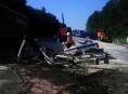 Komplikaci v dopravě na R46 způsobil převrácený kamion