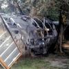 Požár plechové garáže v Mikulovicích    zdroj foto:HZS Ok