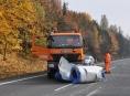 Zablokovaná silnice Olomouc - Mohelnice