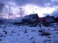 Rozsáhlý požár novostavby  v obci Rájec na Šumperku.