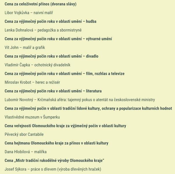 seznam oceněných zdroj: Olk