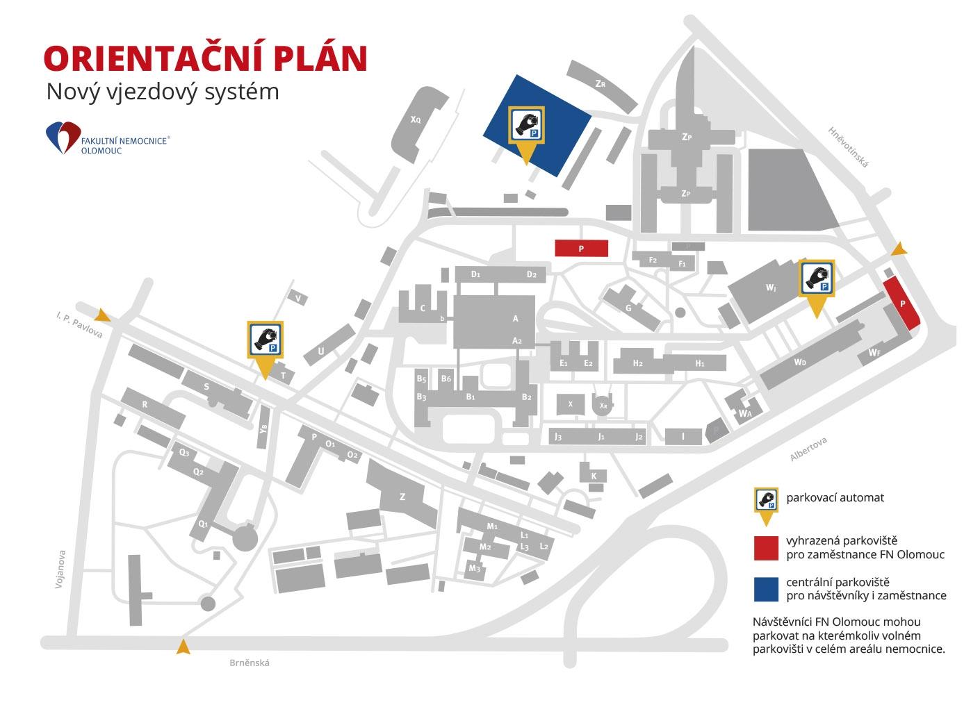 Fakultní nemocnice Olomouc testuje nový vjezdový a parkovací systém - orientační plán zdroj: FN OL
