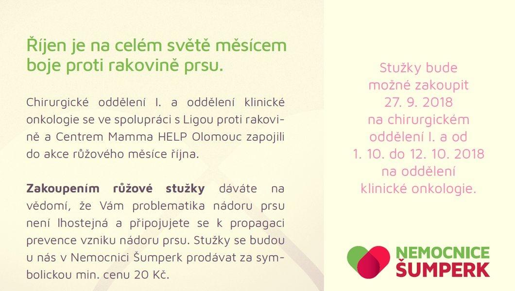 K růžovému říjnu se letos opět připojí také šumperská nemocnice zdroj: NŠ