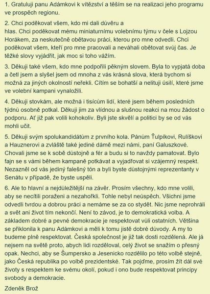 Mgr. Bc. Zdeněk Brož - po sečtení hlasů druhého kola zdroj: FB NV+KDU