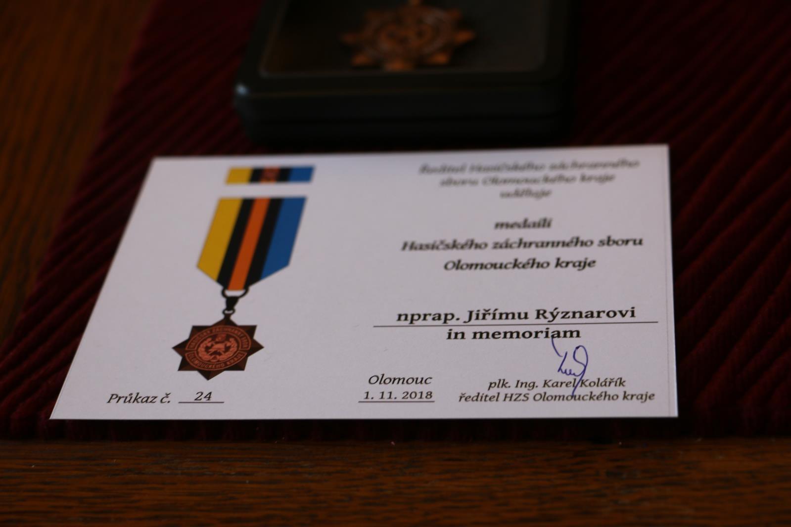 Hasiči v Olomouckém kraji předali osmadvacet významných ocenění zdroj foto: HZS OLK