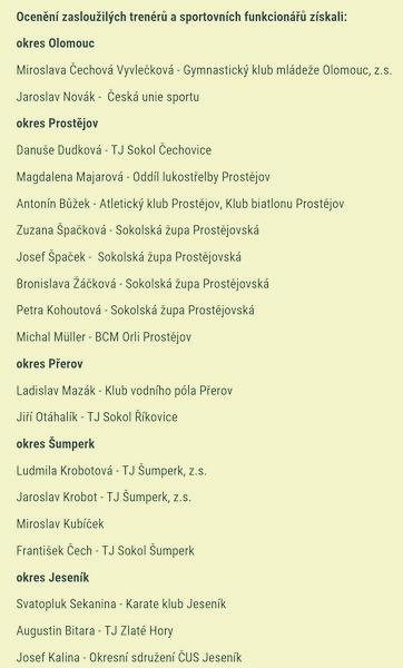 Trenéři a sportovní funkcionáři převzali ocenění od Olomouckého kraje zdroj: OLK