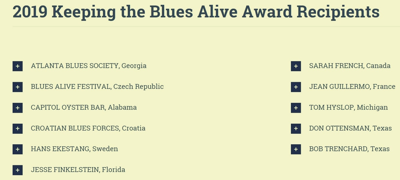 Keeping The Blues Alive Award 2019 zdroj:BA