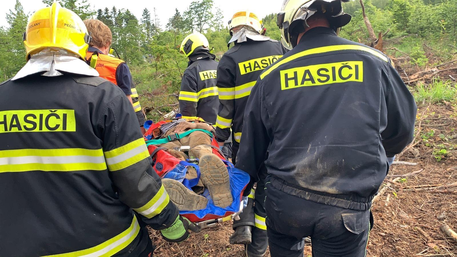 Záchrana zavaleného muže stromem zdroj foto: HZS OLK