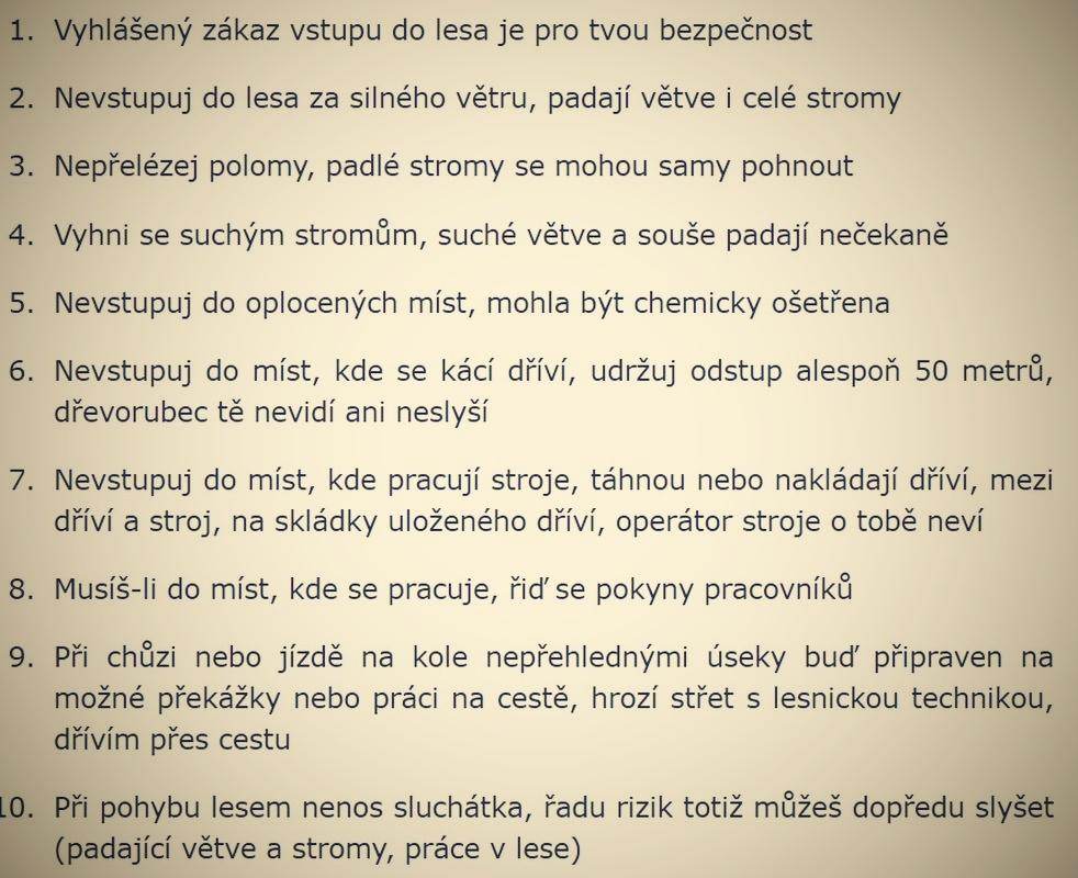 Deset kroků pro bezpečný pohyb v lese zdroj:eagri.cz
