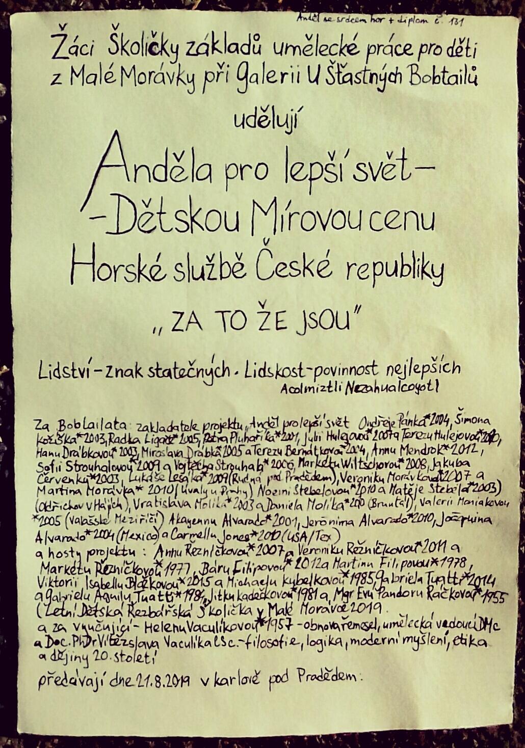 Dětská Mírová cena – Anděl pro lepší svět zdroj foto: HS