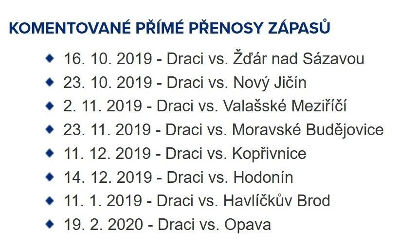 informace hokejového klubu zdroj: Draci Šumperk