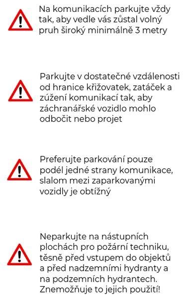 Jak správně parkovat - leták zdroj: HZS OLK