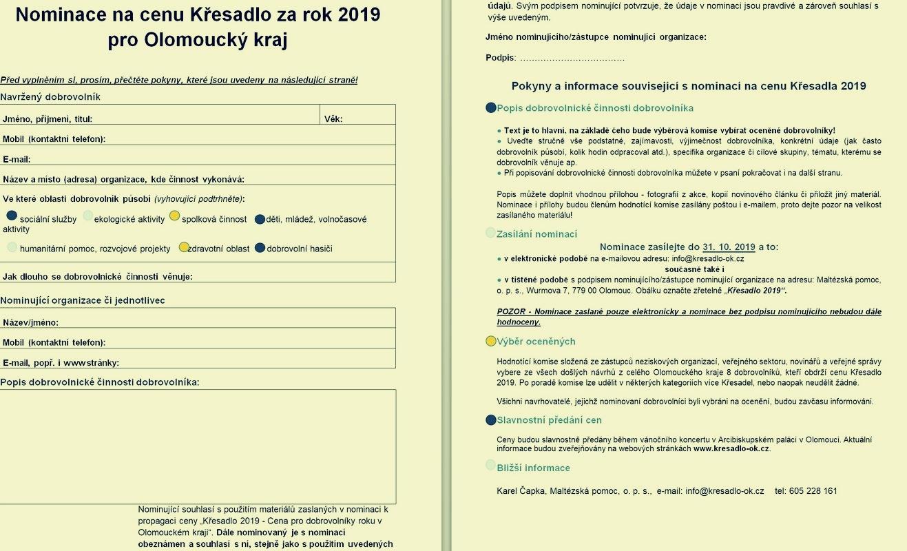 nominační formulář - VZOR zdroj: MP