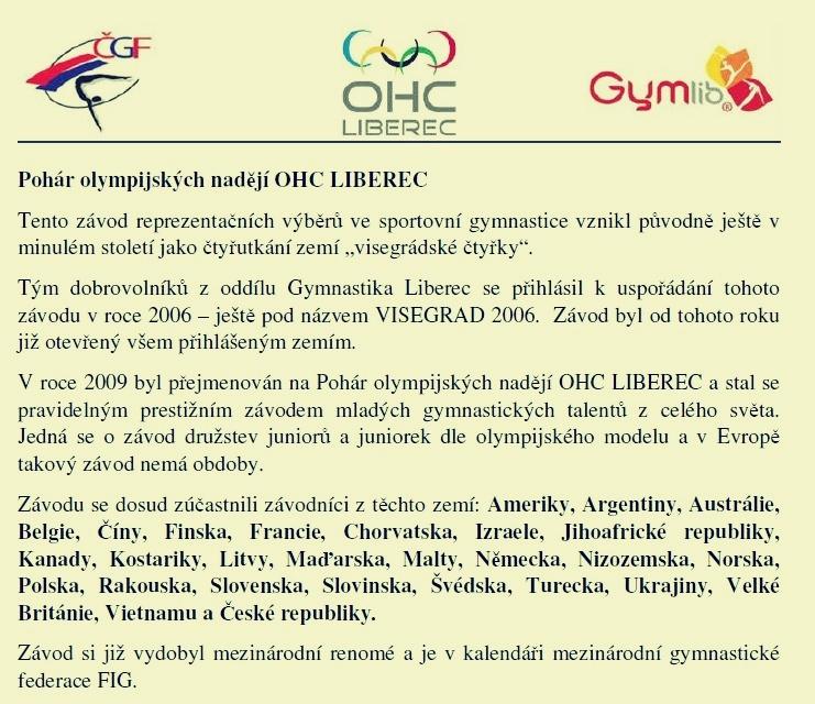 OLYMPIC HOPES CUP - historie soutěže zdroj: D. Peterková