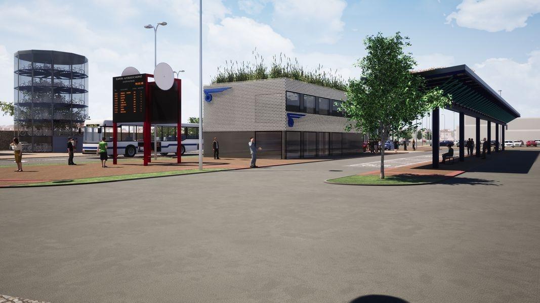 terminál Šumperk - pohled na výpravčí budovu - vizualizace zdroj: mus