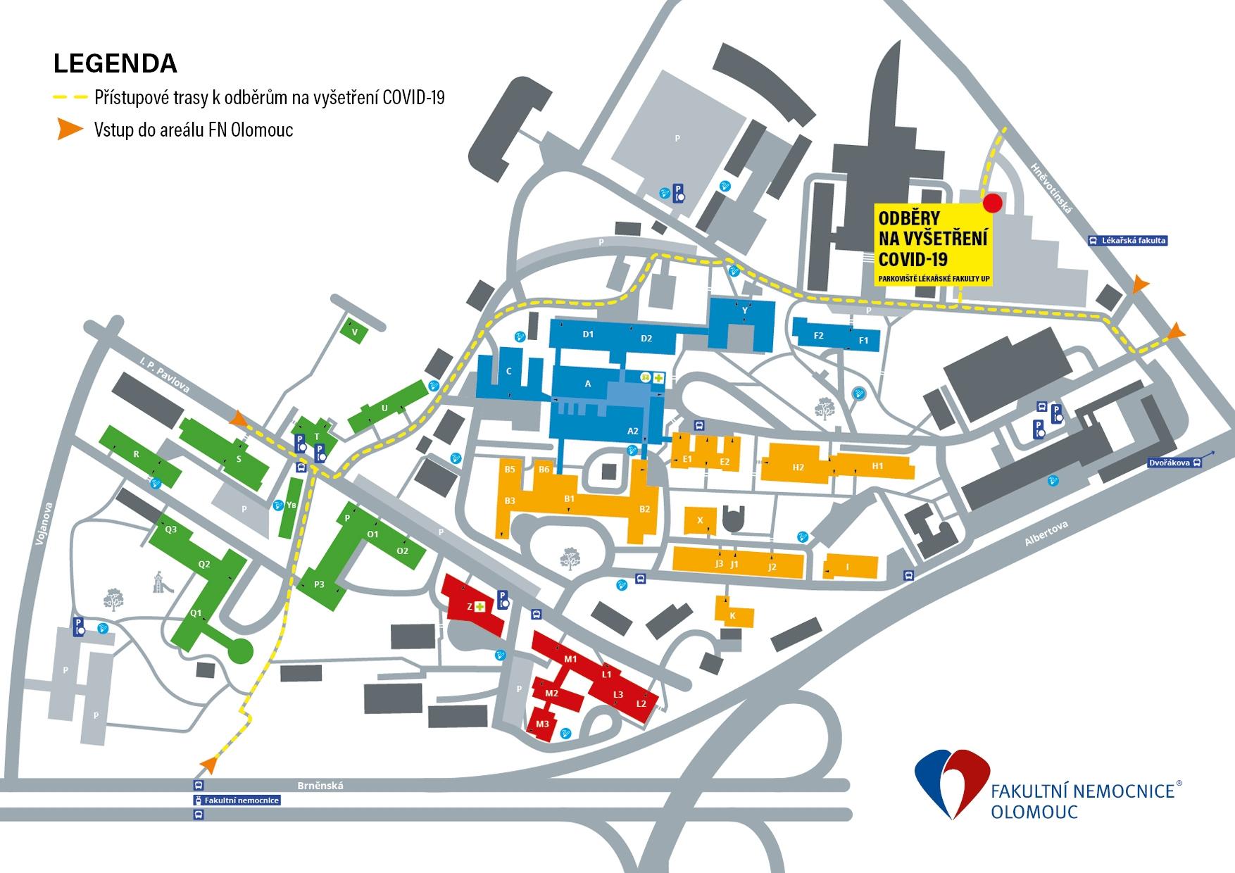 mapa přístupové trasy zdroj: FNOL