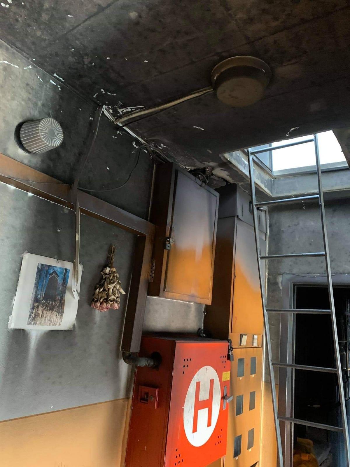 žebřík použitý k vyražení dveří zdroj foto: PČR
