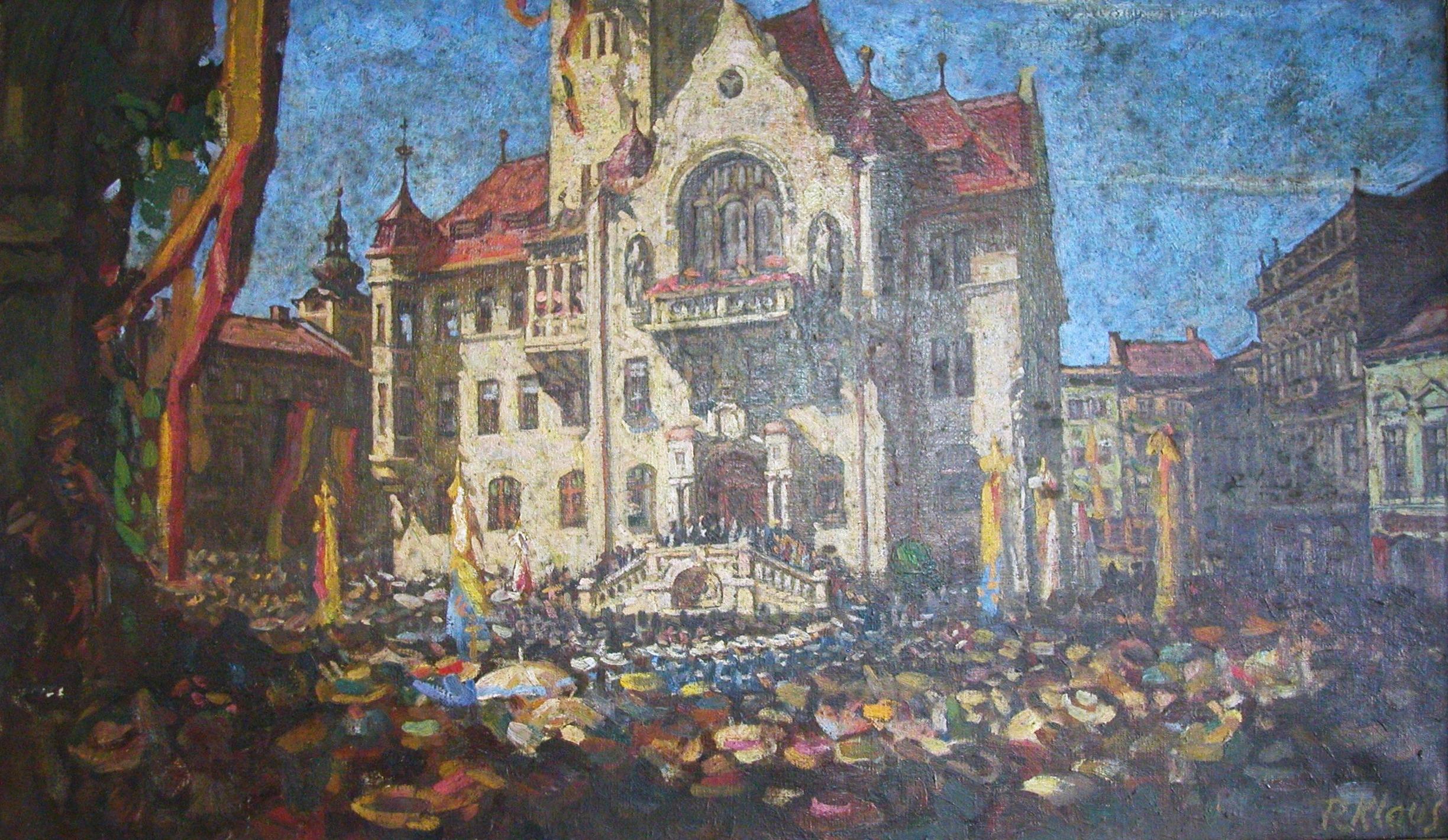 Otevření nové šumperské radnice na obraze R. Klause. Foto: VM Šumperk.