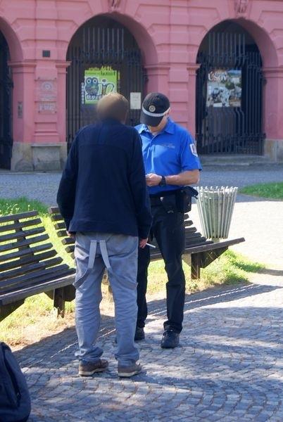 strážníci při řešení konkrétního případu v Sadech 1. máje foto: mus - MPŠ