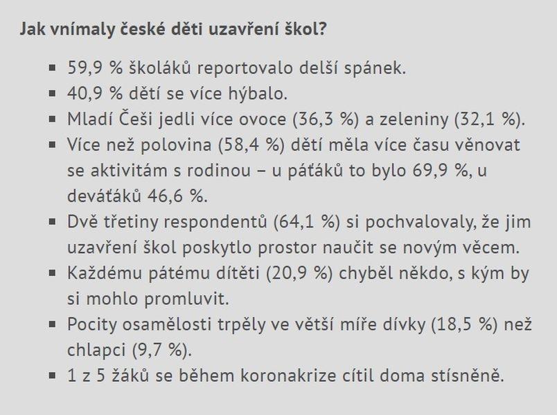 České děti a lockdown zdroj: upol